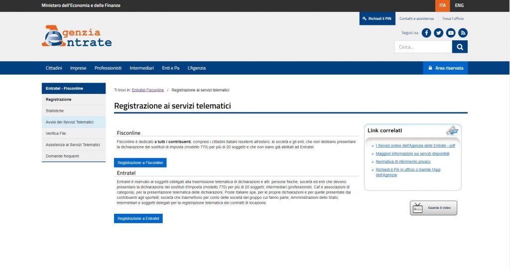 pagina di registrazione Agenzia delle Entrate